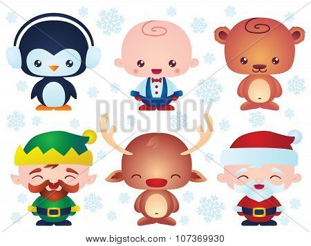 Cute Christmas Baby Characters