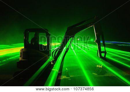 Laser Show With Excavators