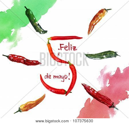 5th of May greeting card, with the text in Spanish saying 'Feliz cinco de mayo', with chili pepprs