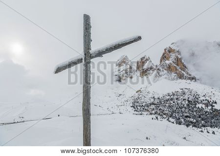 Wooden Cross With Alpspitze In Dolomites. Italy