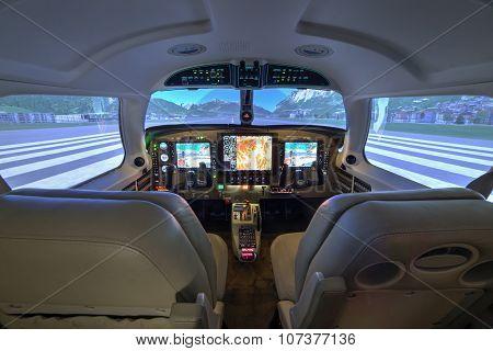 Piper Meridian Flight Simulator Cockpit At Kunovice.