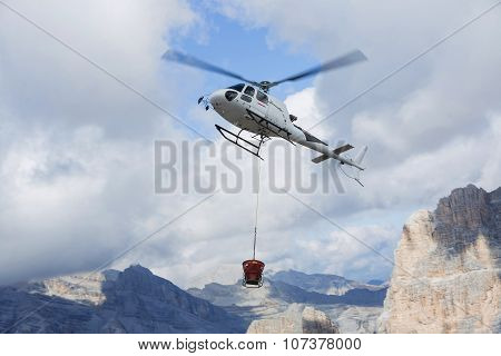 Helicopter In The Air While Flying