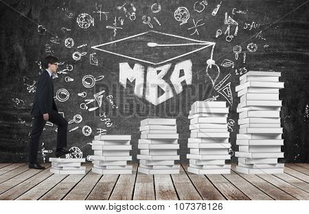 A Man Is Going Up Using A Stairs Which Are Made Of White Book To Reach Graduation Hat. The Written