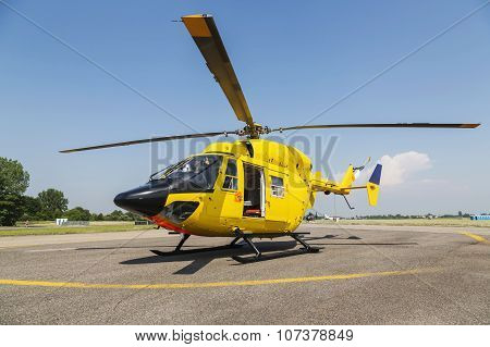 Prague, CZECH REPUBLIC - 12 June: Helicopter Rescue, Helicopter On The Ground.