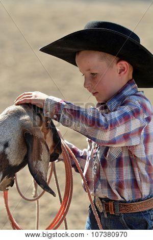 Cowboy Petting Goat