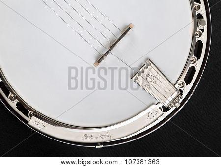 Metalic Banjo Isolated On Black Background