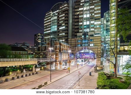 The wall of London and the Barbican area by night, London, UK
