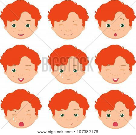 Red-haired Boy Emotions: Joy, Surprise, Fear, Sadness, Sorrow, Crying, Laughing, Cunning Wink