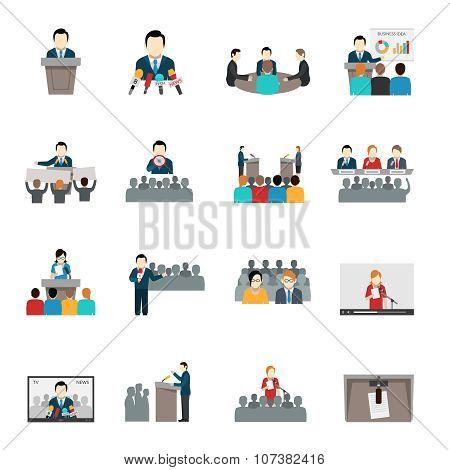 Public Speaking Icons Set