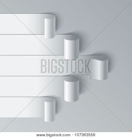 Curled blank paper stripe banners arrow on white background