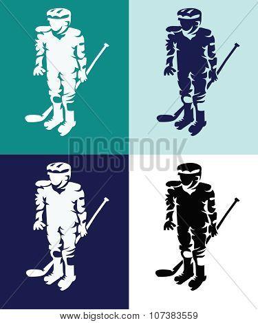 Hockey Players Mascots Silhouettes