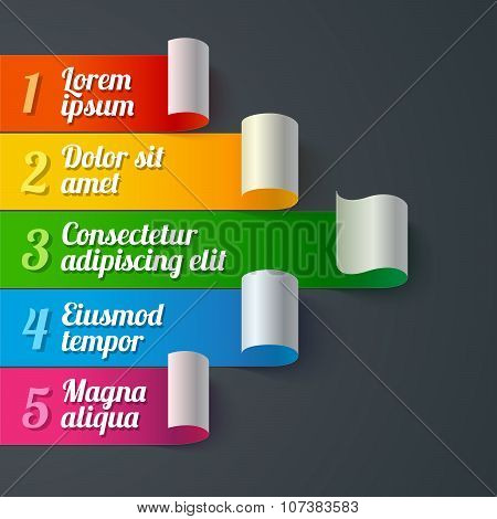 Infographics curled colorful paper stripe banners arrow with white turns and 5 text options on dark