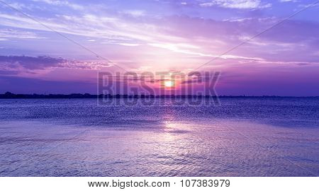 Amazing Purple Sky Sunset Over Sea . Dusk On Adriatic Sea.