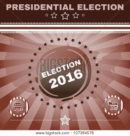 Election 2016 Campaign Ad Flyer. Elephant versus Donkey. Social Promotion Banner. American Flag's Symbolic Elements - Red Stripes and Blue Stars. Digital vector illustration. poster