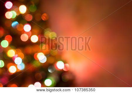 Christmas Background, Image Blur Colorful Bokeh Defocused Lights Decoration On Christmas Tree
