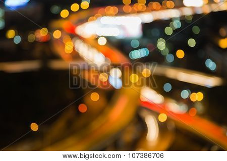 Abstract blurred background, highway interchanged close up at night