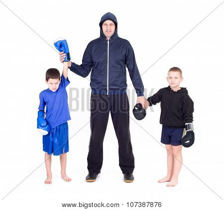 kickboxing kids with instructor. Isolated on a white background. Studio shot poster