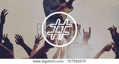 Hash Tag Social Networking Topics Online Concept