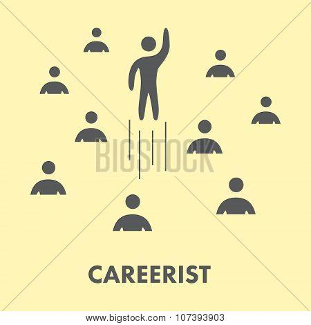 Careerist Icon. Silhouette People. Vector Symbol