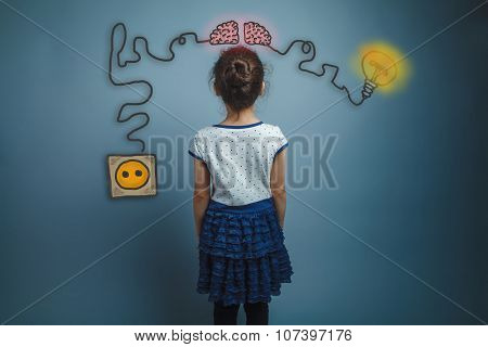 Teen girl turned initiation charge charging cord plug wires and sketch infographics poster