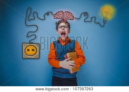 Teenage boy holding a book and shouting his mouth agape charging