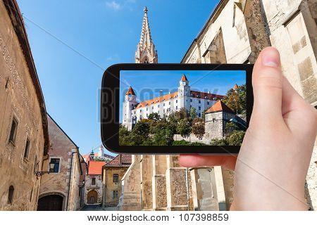 Snapshot Of Bratislava Castle From Street In Town