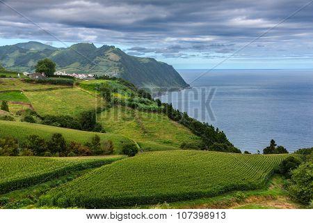 Coast View Over Povoacao In Sao Miguel, Azores Islands