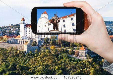 Tourist Photos Statue In Bratislava Hrad Castle