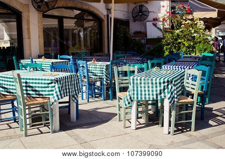 Cyprus tavern. A view of the cafe, restaurant, cypriot taverna, tables and the souk leading to the c