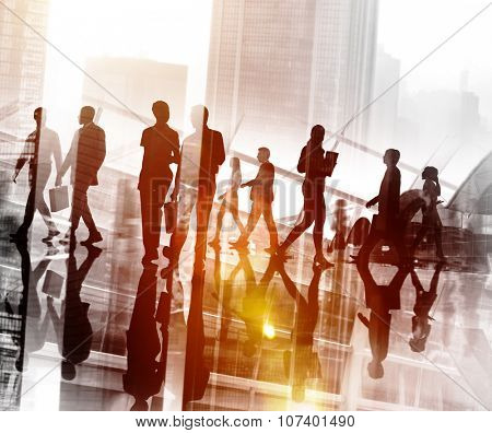 Business People Commuter Walking Cityscape Concept poster