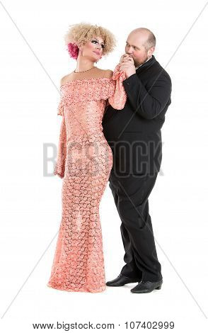 Eccentric Fat Man In A Tuxedo And Beautiful Lady In An Evening Dress