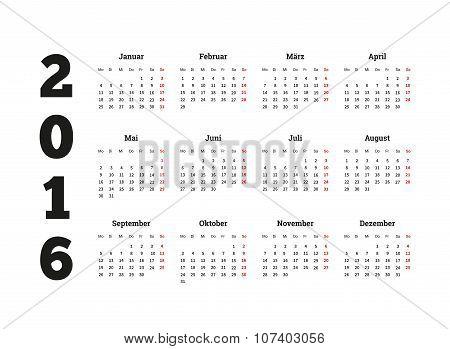 Calendar 2016 year on german language, A4 sheet size