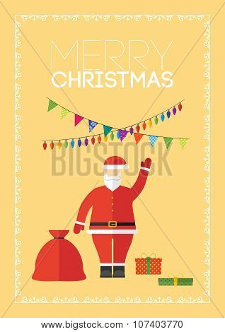 Merry Christmas Gift Card With Santa Claus