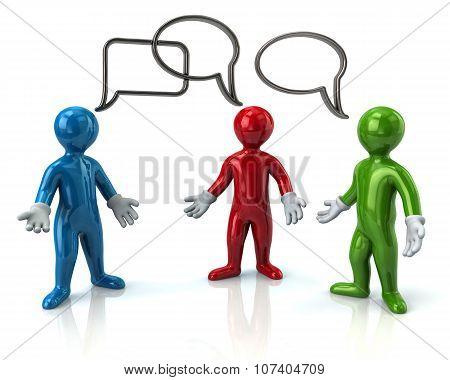 Three Cartoon Character Men Discussing
