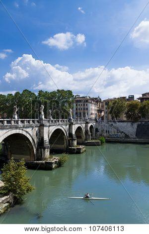 Rower in Tiber River