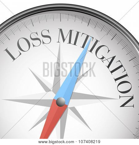 detailed illustration of a compass with Loss Mitigation text, eps10 vector