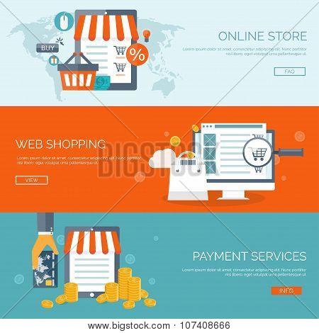 Vector illustration. Flat header. Shopping. Web store. Global communication, trading. E-business. Co