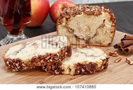 Pecan And Apple Loaf Cake, Sliced.