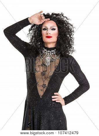 Drag Queen in Black Evening Dress Performing on white background poster