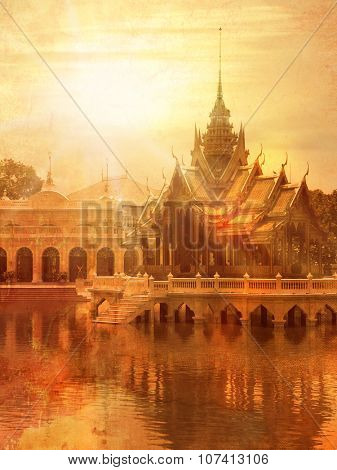 Temple in Thailand in Ayutthaya - Bang Pa-in palace - vintage style poster