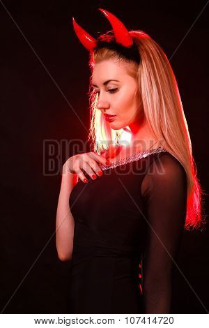 Beautiful Young Woman With Red Demon Horns