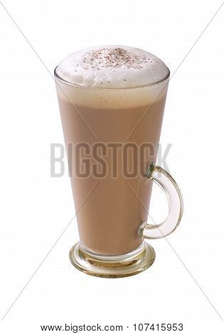 coffee latte with frothy milk and chocolate powder in tall glass