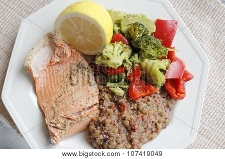 Healthy Dinner Of Salmon Vegetables And Quinoa