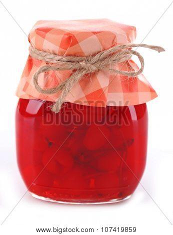 Maraschino cherries in jar, isolated on white