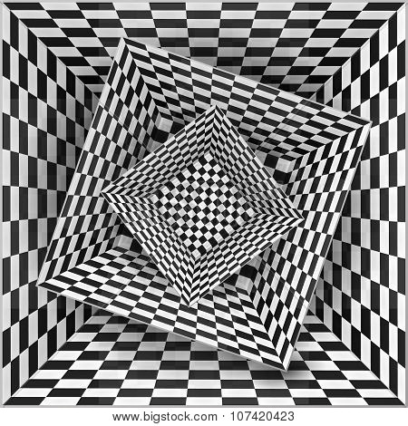 Black and white chessboard pattern boxes, abstract background