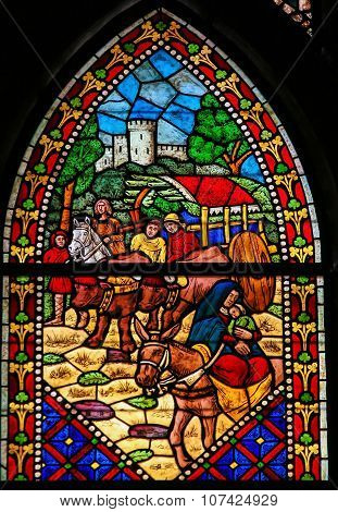 Stained Glass Of The Flight To Egypt In Cathedral Of Leon, Spain