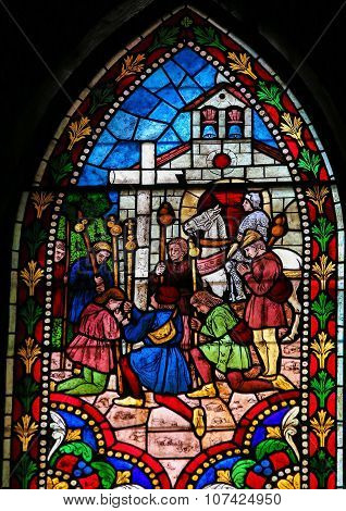 Stained Glass Of Pilgrims To Compostela In Cathedral Of Leon, Spain