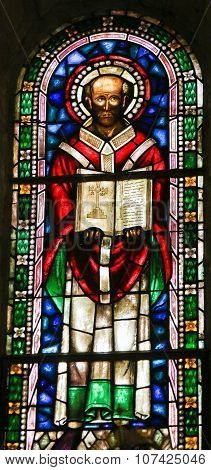 A Saint And The Bible - Stained Glass