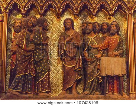 Jesus Christ Twelve Disciples Wooden Statues Notre Dame Cathedral Paris France