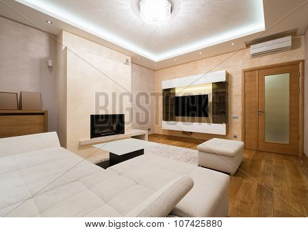 Interior Of A Specious Living Room With Fireplace